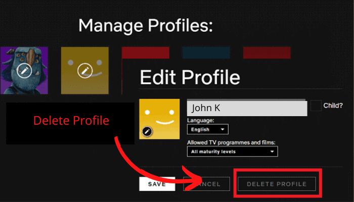 delete profile iphone netflix